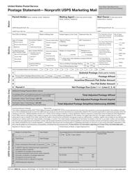 "PS Form 3602-N1 ""Postage Statement - Nonprofit USPS Marketing Mail"""