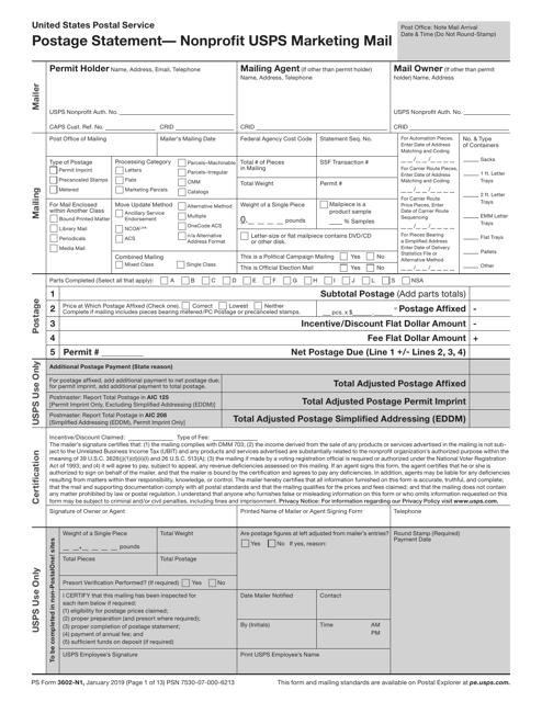 PS Form 3602-N1  Printable Pdf