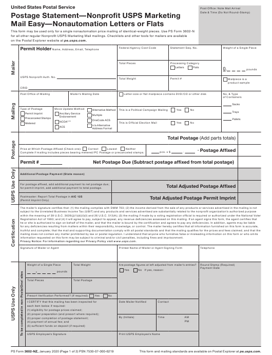 PS Form 3602-NZ Printable Pdf