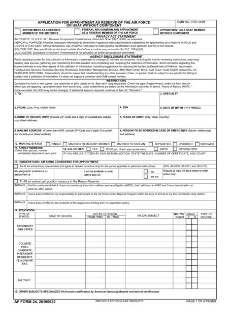AF Form 24  Printable Pdf