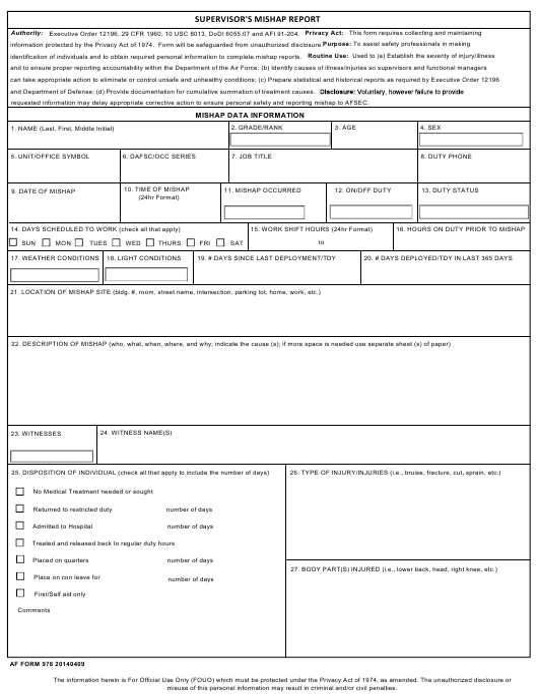 AF Form 978 Fillable Pdf