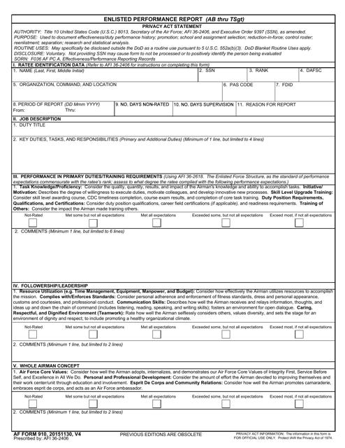 AF Form 910 Printable Pdf