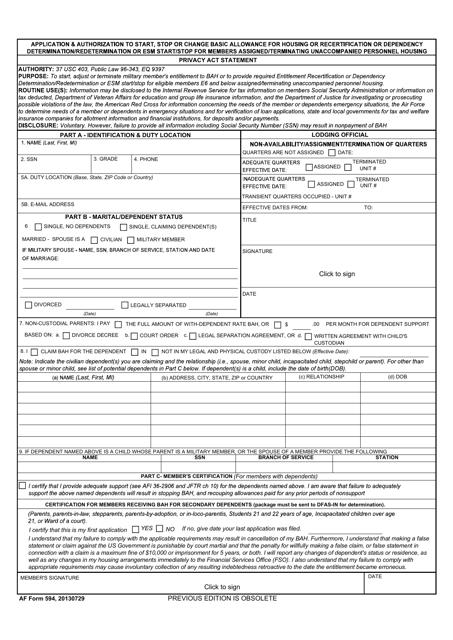 AF Form 594  Printable Pdf