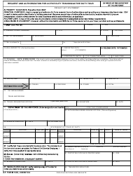 AF Form 938 Request and Authorization for Active Duty Training/Active Tour