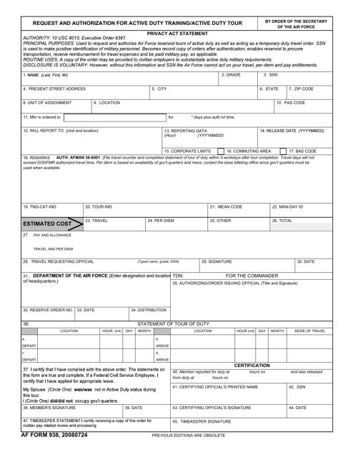 AF Form 938  Printable Pdf