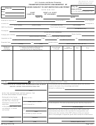 "CBP Form 7512 ""Transportation Entry and Manifest of Goods Subject to CBP Inspection and Permit"""