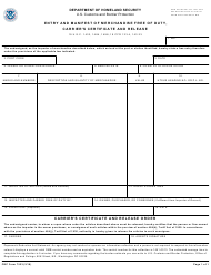 "CBP Form 7523 ""Entry and Manifest of Merchandise Free of Duty, Carrier's Certificate and Release"""