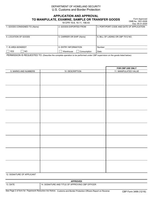 CBP Form 3499 Printable Pdf