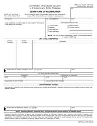 CBP Form 4455 Certificate of Registration