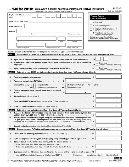 IRS Form 940 2018 Printable Pdf