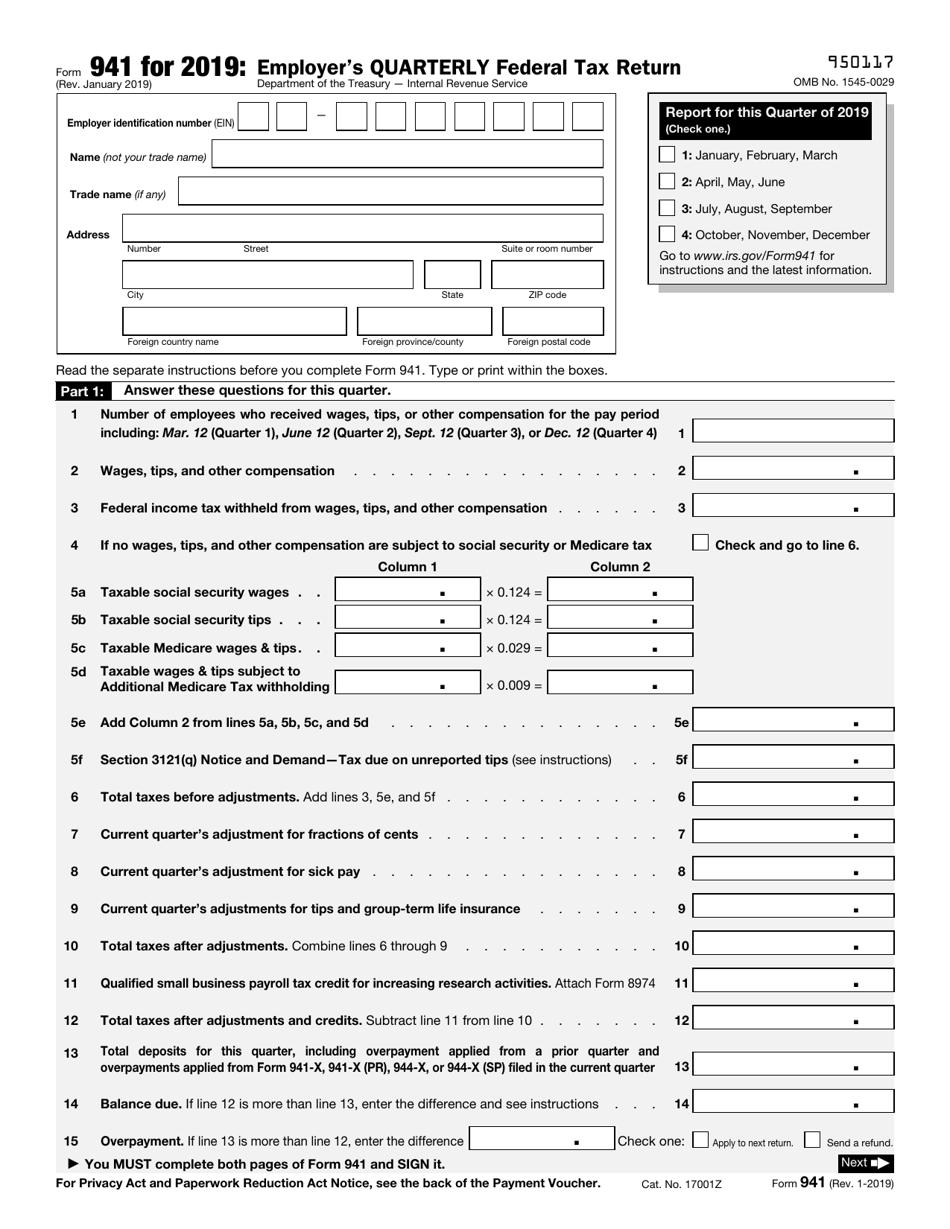 IRS Form 941 2019 Printable Pdf