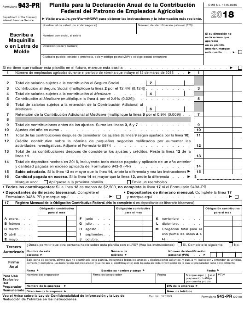 IRS Formulario 943-PR 2018 Printable Pdf