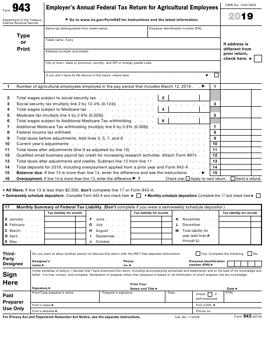 Irs Form 943 Download Fillable Pdf Or Fill Online Employer S
