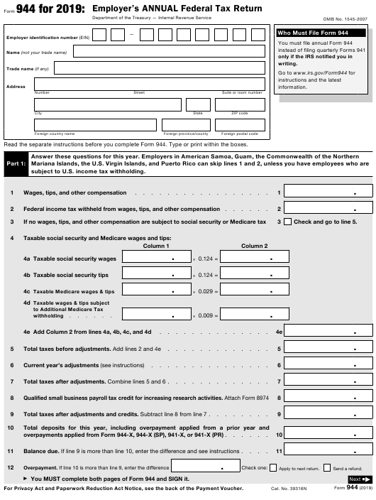 IRS Form 944 2019 Printable Pdf