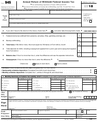 IRS Form 945 2018 Annual Return of Withheld Federal Income Tax