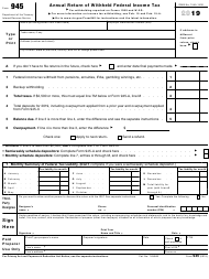 """IRS Form 945 """"Annual Return of Withheld Federal Income Tax"""""""