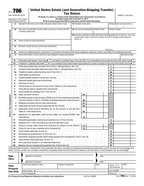 IRS Form 706 Printable Pdf