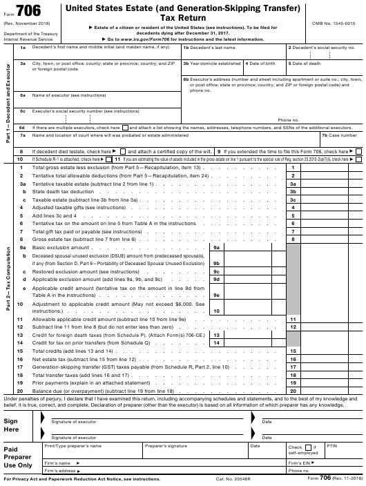 IRS Form 706 Fillable Pdf