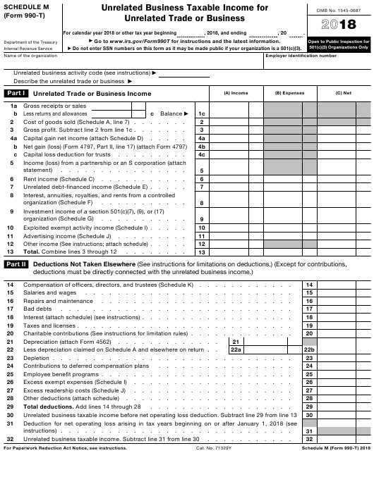 IRS Form 990-T 2018 Fillable Pdf