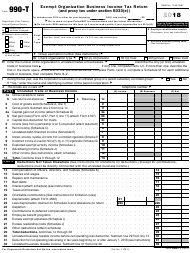 IRS Form 990-T 2018 Exempt Organization Business Income Tax Return (And Proxy Tax Under Section 6033(E))