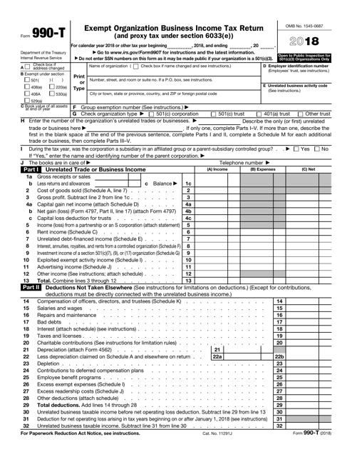 IRS Form 990-T 2018 Fillable Pdf