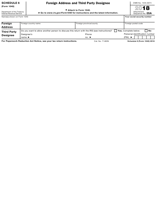 IRS Form 1040 2018 Fillable Pdf
