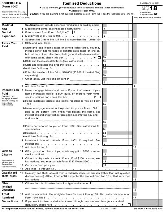IRS Form 1040 Schedule A 2018 Printable Pdf