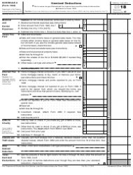 IRS Form 1040 2018 Schedule a - Itemized Deductions