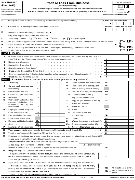 IRS Form 1040 2018 Printable Pdf
