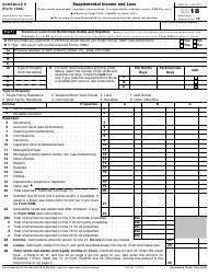 IRS Form 1040 2018 Schedule E - Supplemental Income and Loss