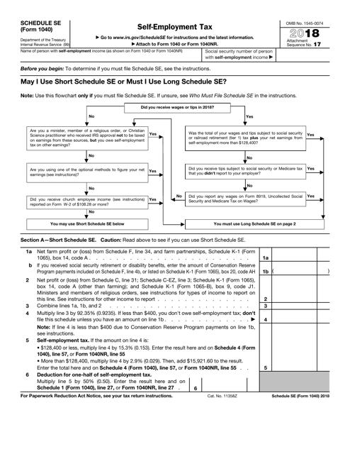 IRS Form 1040 2018 Fillable Pdf