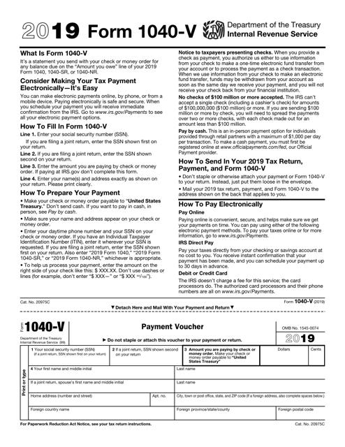 form 1040 v payment voucher instructions