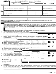 "IRS Form 1040-C ""U.S. Departing Alien Income Tax Return"", 2019"