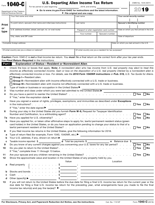 form 1040 download  IRS Form 10-C Download Printable PDF 10, U.S. Departing ...
