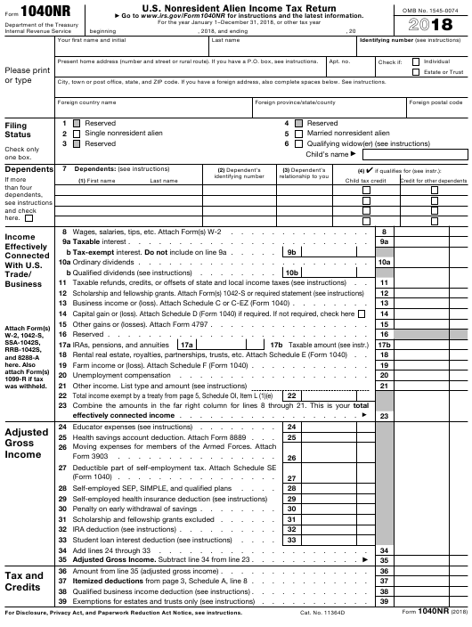 IRS Form 1040NR 2018 Printable Pdf