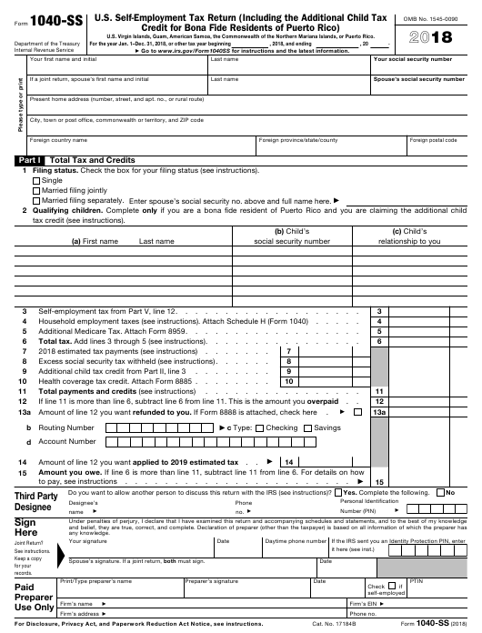 IRS Form 1040-SS 2018 Fillable Pdf