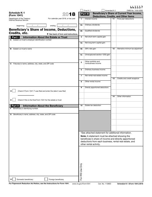 IRS Form 1041 2018 Printable Pdf