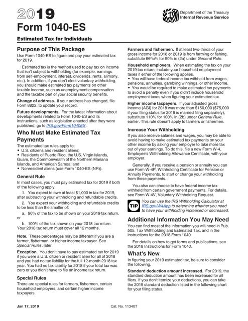 IRS Form 1040-ES 2019 Printable Pdf