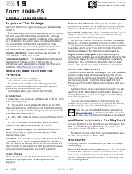 """IRS Form 1040-ES """"Estimated Tax for Individuals"""""""