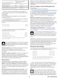"""IRS Form 1040-ES """"Estimated Tax for Individuals"""", Page 2"""