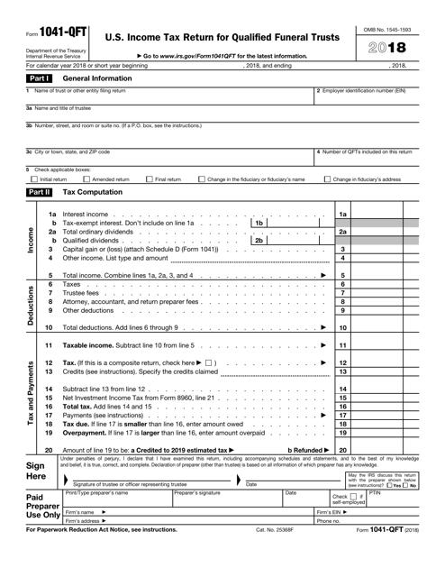 IRS Form 1041-QFT 2018 Printable Pdf