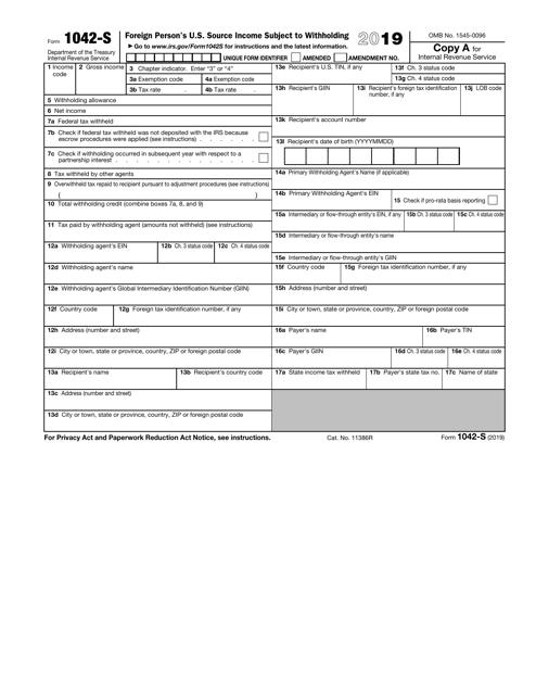IRS Form 1042-S 2019 Printable Pdf