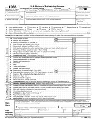 "IRS Form 1065 ""U.S. Return of Partnership Income"", 2018"