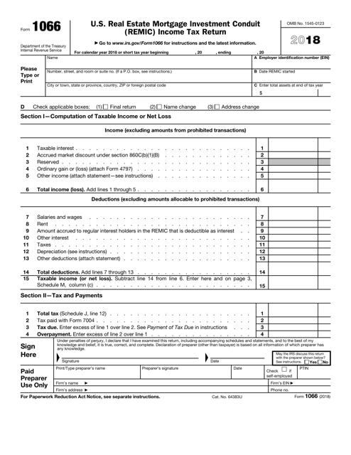 IRS Form 1066 2018 Printable Pdf