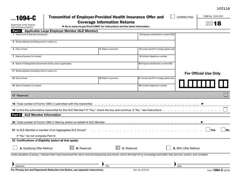 IRS Form 1094-C 2018 Printable Pdf
