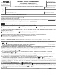"""IRS Form 1065X """"Amended Return or Administrative Adjustment Request (Aar)"""""""