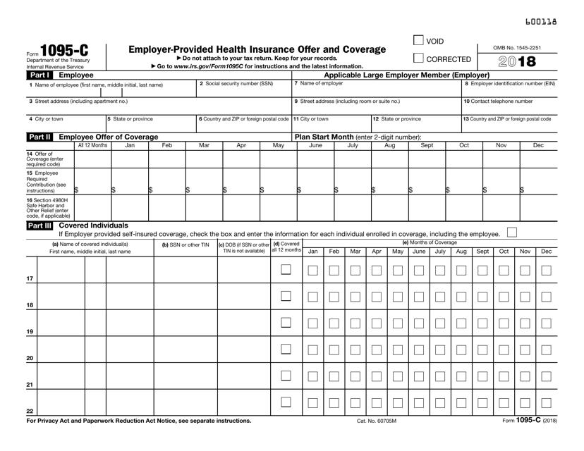 IRS Form 1095-C 2018 Printable Pdf