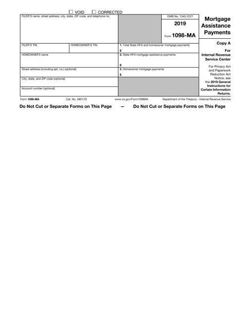 IRS Form 1098-MA 2019 Printable Pdf