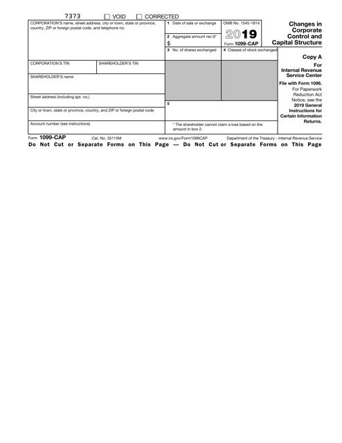 IRS Form 1099-CAP 2019 Printable Pdf