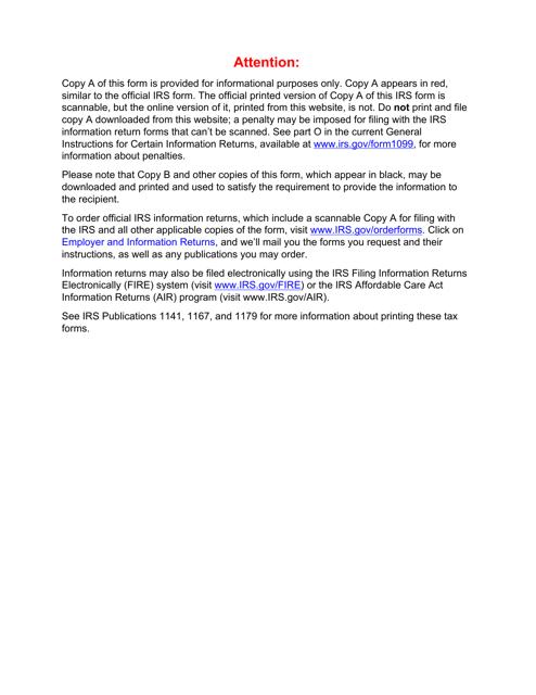 IRS Form 1099-K 2019 Printable Pdf